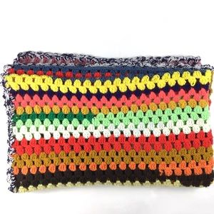 Other - Vtg granny handmade Afghan blanket striped crochet